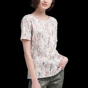 DKNY SEQUIN TEE SHIRT WITH ABSTRACT PRINT NWT S